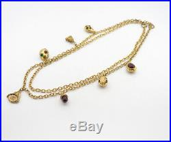 CHANEL Red & Green Gripoix Charm Necklace Gold tone 34 inch long v909