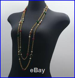 CHANEL Red & Green Gripoix Charm Necklace Gold tone 76 inch long v1155