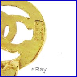 CHANEL Triple CC Logos Charm Motif Earrings Clip-On Gold-Tone 28 2885 A47437