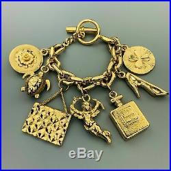 CHANEL VINATGE Gold Tone Angel Coco Purse Pump Perfume Charm Bracelet