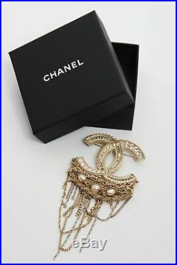 CHANEL Women Safety Pin Brooch Metallic Crystal Gold Tone Charm Padlock with Box