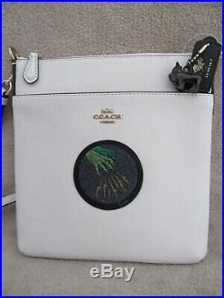 COACH 77973 Wizard of Oz Messenger Crossbody Chalk Handbag Purse & Dog Charm NWT