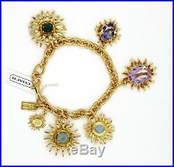 COACH Gold Tone Sunburst Multi-Color Stone Charm Bracelet 7 1/2 New With Tag