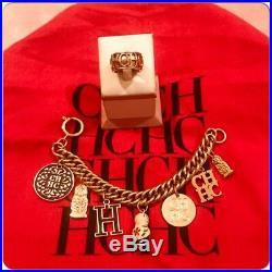 Carolina Herrera Enameled Logo Russian Doll Gold Tone Charm Bracelet w, CH Ring