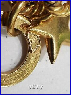 Celine Paris Vintage Globe Moon & Star Gold Plate Charm Wide link Bracelet 8