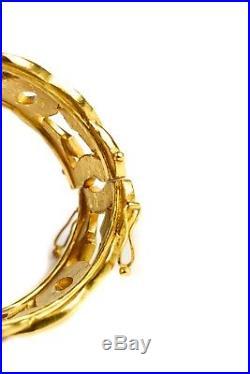 Chanel Bracelet CC Linked Logo Gold Cuff Bangle Stud Charm Vintage 96a 1996