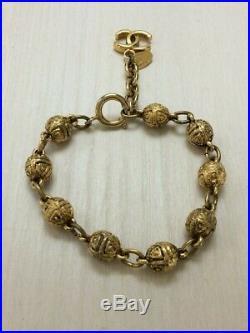 Chanel CC COCO Mark Charm Ball chain Gold tone bracelet Used With box mfa029