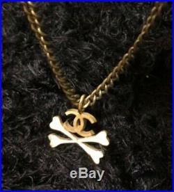 Chanel CC COCO mark / Bone motif charm gold tone chain Necklace Used F/S mfa132