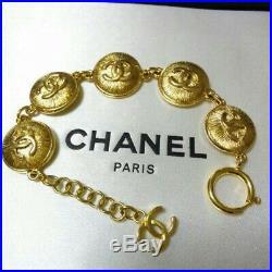 Chanel CC coco mark round motif Charm gold tone chain Bracelet Reyt002