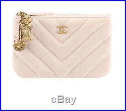Chanel Chevron Mini O Case Beige Antique Gold Tone Hardware with Greek Charms