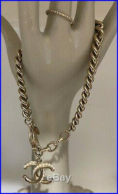 Chanel Gold Tone CC Faux Pearl Charm Bracelet NWOT and bag