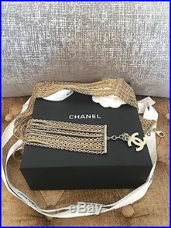 Chanel Gold Tone Multistrand Chain CC Charm Belt