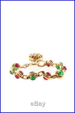 Chanel Gold Tone Red Green Poured Glass Bead Charm Bracelet