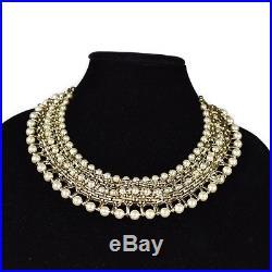 Chanel New Pearl Choker Necklace Bib 2017 Gold Chain CC Logo Charm