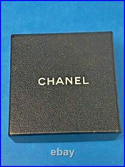 Chanel Vintage CC Logo Pendant Charm Necklace Goldtone Pearl Black Crystal Rare