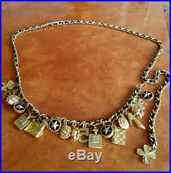 Chanel Vintage Gold Tone Metal Black Leather Chain Charms Belt 90-s