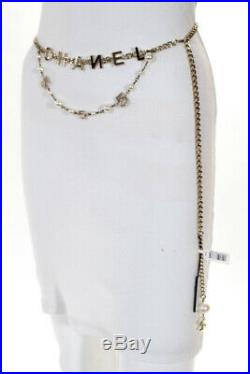 Chanel Womens Gold Tone Chain Link Faux Pearl No 5 Letter Charm Belt