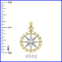 Charm America Gold Two-tone Compass Charm 10 Karat Solid Gold