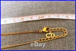 Christian Dior Cursive LOGO Motif Gold-Tone Charm Chain Pendant Necklace Vintage