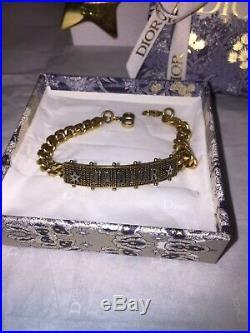Christian Dior Jadior Gold Tone Logo Bracelet Toile De Jouy Charm Gift Box Bag