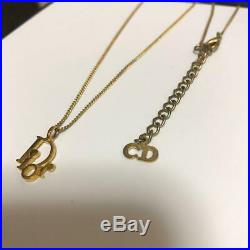 Christian Dior Logo Charm Gold-tone Necklace pendant H