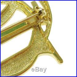 Christian Dior Logos Charm Brooch Pin Corsage Gold-Tone Accessories AK35967