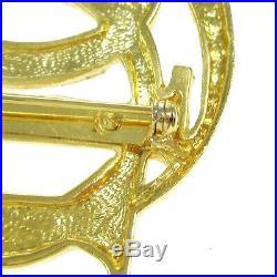 Christian Dior Logos Charm Brooch Pin Corsage Gold-Tone Accessories AK35969a