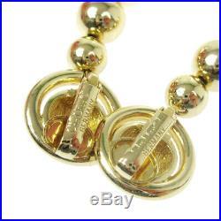 Christian Dior Logos Imitation Pearl Earrings Gold-Tone Clip-On Vintage AK36466
