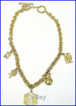 Christian Dior Vintage Gold Tone 5 Iconic Charm Toggle Necklace 18 3/4 (P1)