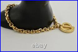 Christian Dior Vintage Signed Bracelet Logo CD Charm Gold Linked Chain RARE Bin2