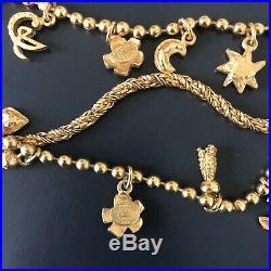 Christian Lacroix vintage necklace bracelet set gold tone charms CL logo 1990s
