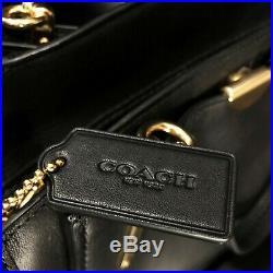 Coach Dreamer Bag black leather gold-tone zip top shoulder handbag purse