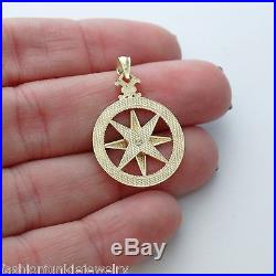 Compass Pendant 10K Solid Yellow Gold Pendant Graduation Nautical Charm NEW