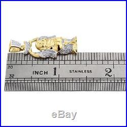 Diamond Laughing Buddha Pendant Mens 10K Yellow Gold Round Pave Charm 0.33 Tcw