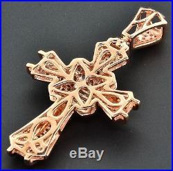 Diamond Mini Cross Pendant Round & Princess Cut 0.75 Ct. 10K Rose Gold Charm