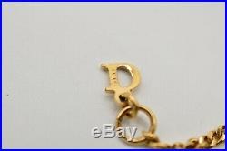 Dior Signed Vintage Bracelet Black Butterfly Letter Logo Gold Tone Charm BinD