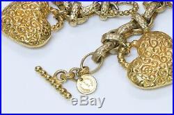 Dominique Aurientis Paris 1980s Gold Tone Heart Charm Bracelet