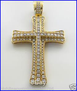 EXCLUSIVE MEN'S Jesus Cross Pendant Charm Real Round Cut Diamond 3.59CT 14K YG