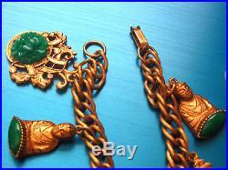 Fab! Rare Vintage Incredible Signed Florenza Buddha Goldtone Charm Bracelet Fc1