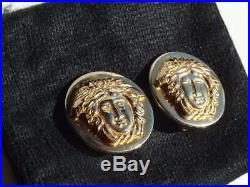 GIANNI VERSACE Vintage Medusa Head Round Charm Gold Tone Clip on 2 Earrings 30mm