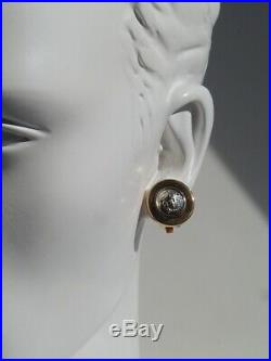 GIANNI VERSACE Vintage Medusa Head Round Charm Gold Tone Clip on Earrings A