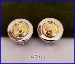 GIANNI VERSACE Vintage New Old Stock Medusa Head Gold/Silver Tone Clip Earrings