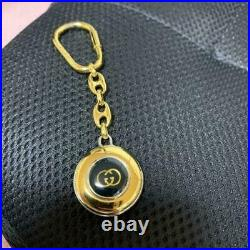 GUCCI Authentic Bag Charm GG Logo Keyring Key Chain Holder Gold Tone Accessories
