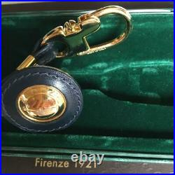 GUCCI Authentic Bag Charm Key Holder Keyring Gold Tone Leather withBox Accessories