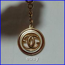 GUCCI Authentic Bag Charm Key Ring Inter Locking GG Gold Tone Key Holder Vintage