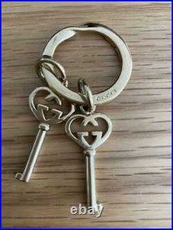 GUCCI Authentic GG Logo Motif Double Heart Keyring Bag Charm Key Chain Accessory