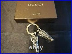 GUCCI Authentic GG Logo Motif Double Heart Keyring Bag Charm Key Chain withBox