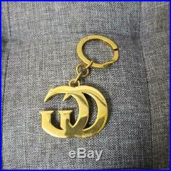 GUCCI Authentic Key Ring Key Chain Bag Charm Gold-tone GG Logo Made in Italy