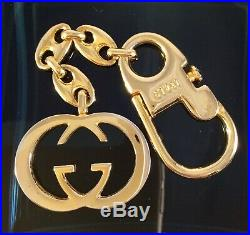 GUCCI GOLD TONE INTERLOCKING Gs KEY, FOB, BAG CHARM CHAIN SUPER ELEGANT