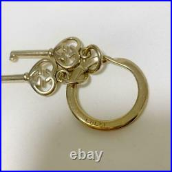 GUCCI Vintage GG Logo Gold Tone Double Heart Keyring Bag Charm Key Chain withBox
